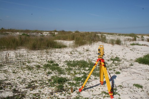 Conducting elevation surveys on the restoration plots